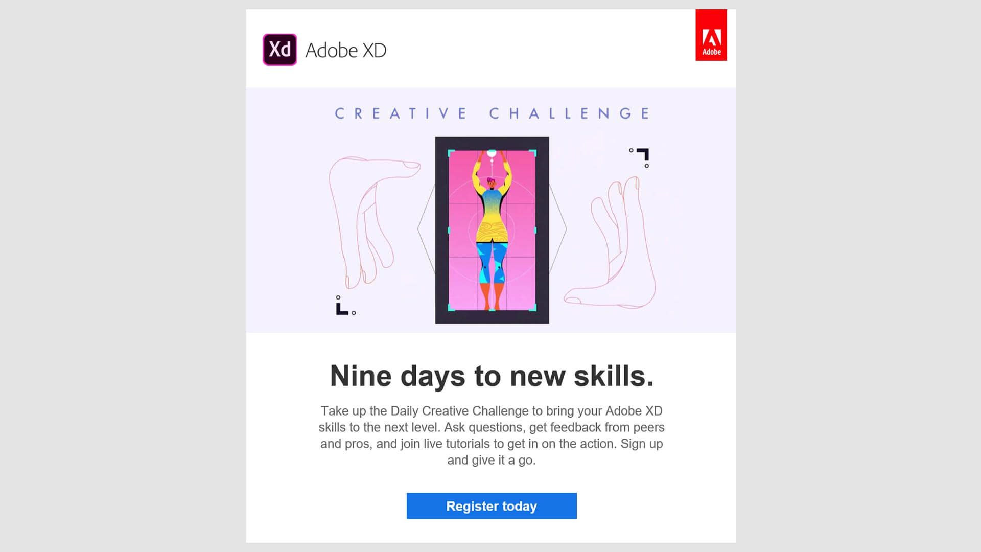 An email from adobe with a clear call to action leading to a landing page.