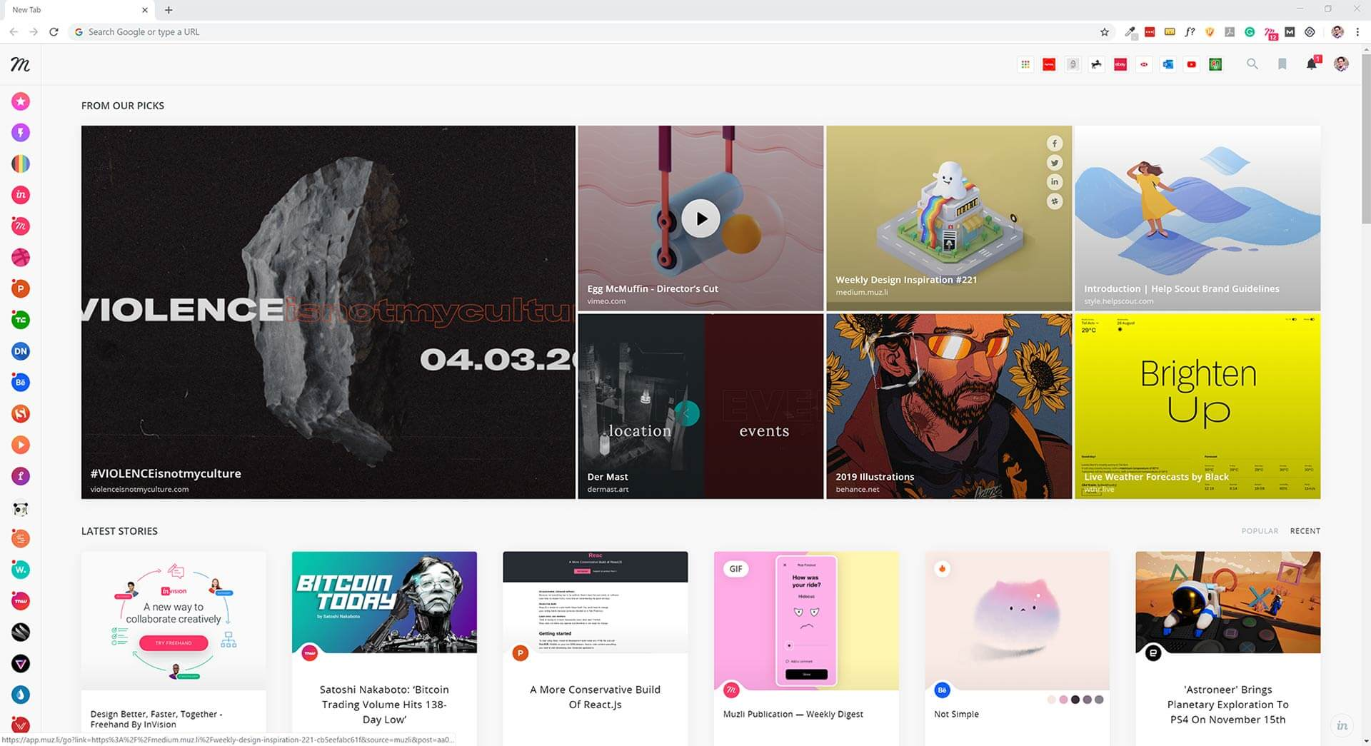 Muzli Chrome extension is a great start of a day for any designer.